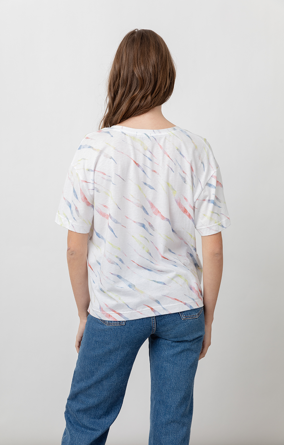 The Pocket V Tee - White Rainbow Tiger