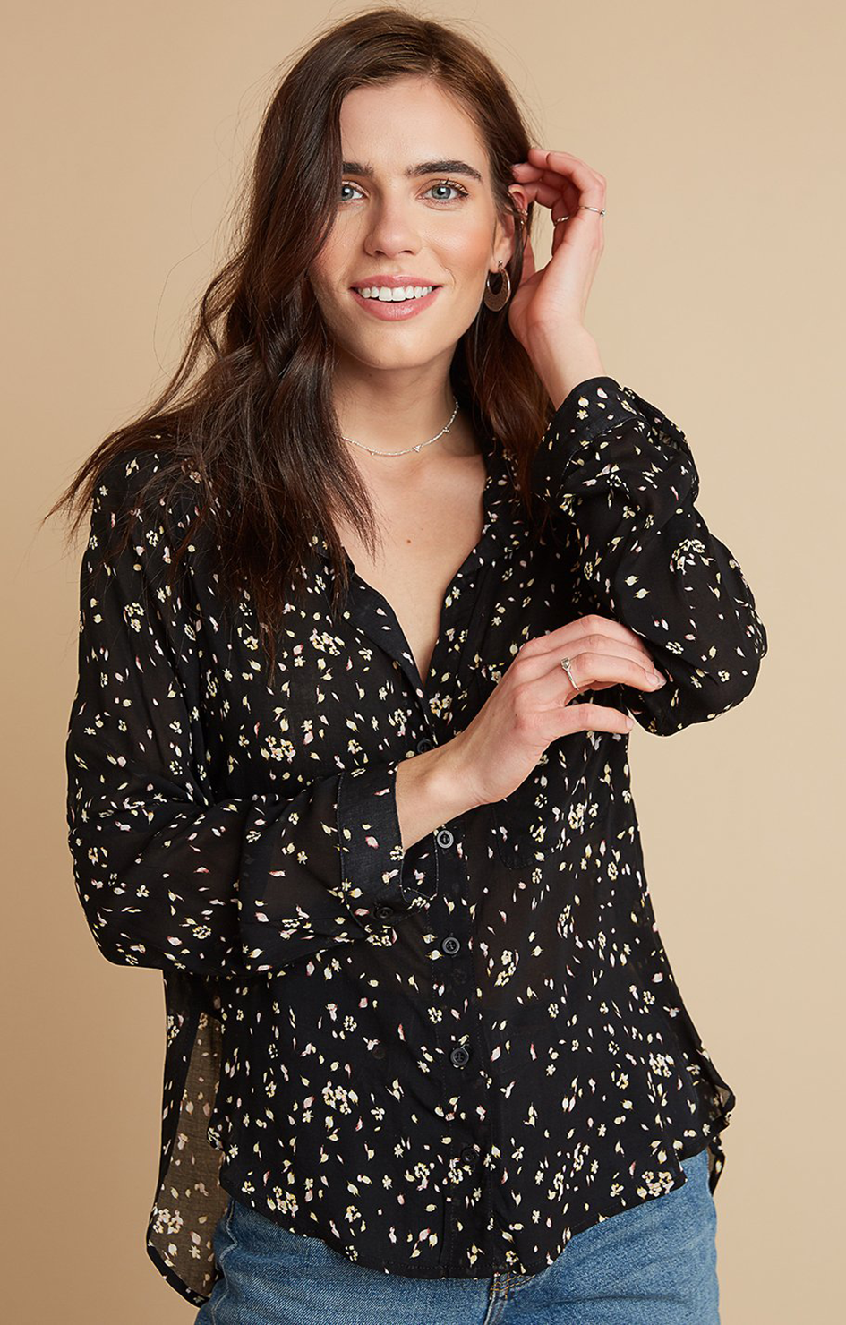 Rounded Hem Pocket Button Down - Black Floral