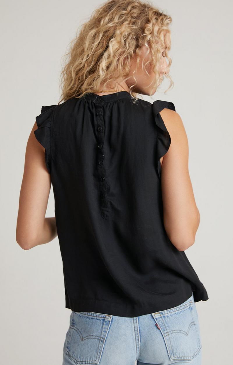 Bella Dahl Ruffle Sleeve Button Back Blouse Black