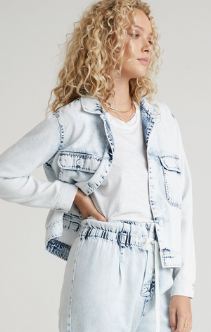 Bella Dahl Utility Crop Jacket White Out Mineral