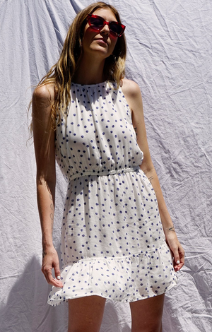 Shirred Halter Dress In White