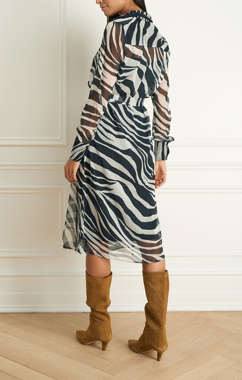 Animal Print Long Sleeve Dress W Belt