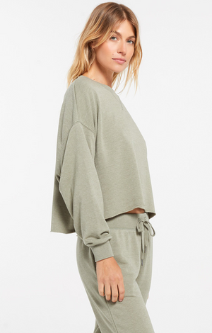 Z Supply Izzy Loop Terry Pullover Meadow Green