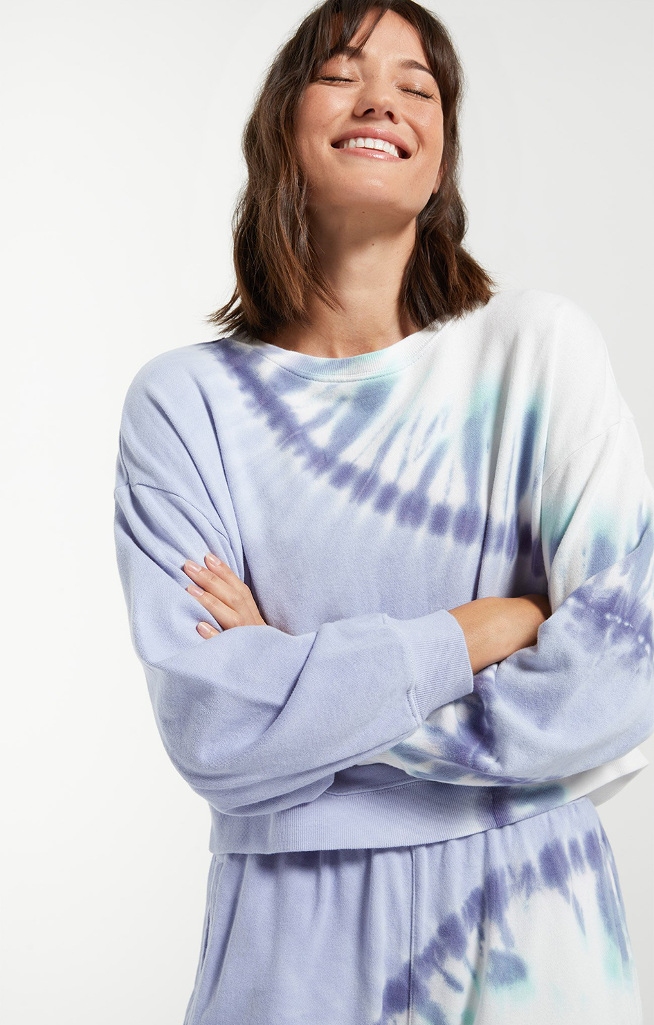 Z Supply Sunburst Tie Dye Pullover Ice Blue