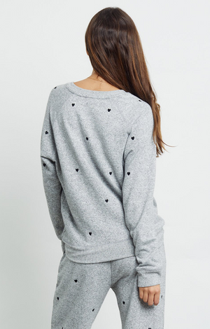 Callahan Sweatshirt - Melange Grey Black Hearts