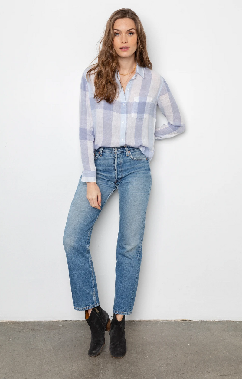 Charli Button Down In Skyblue Check