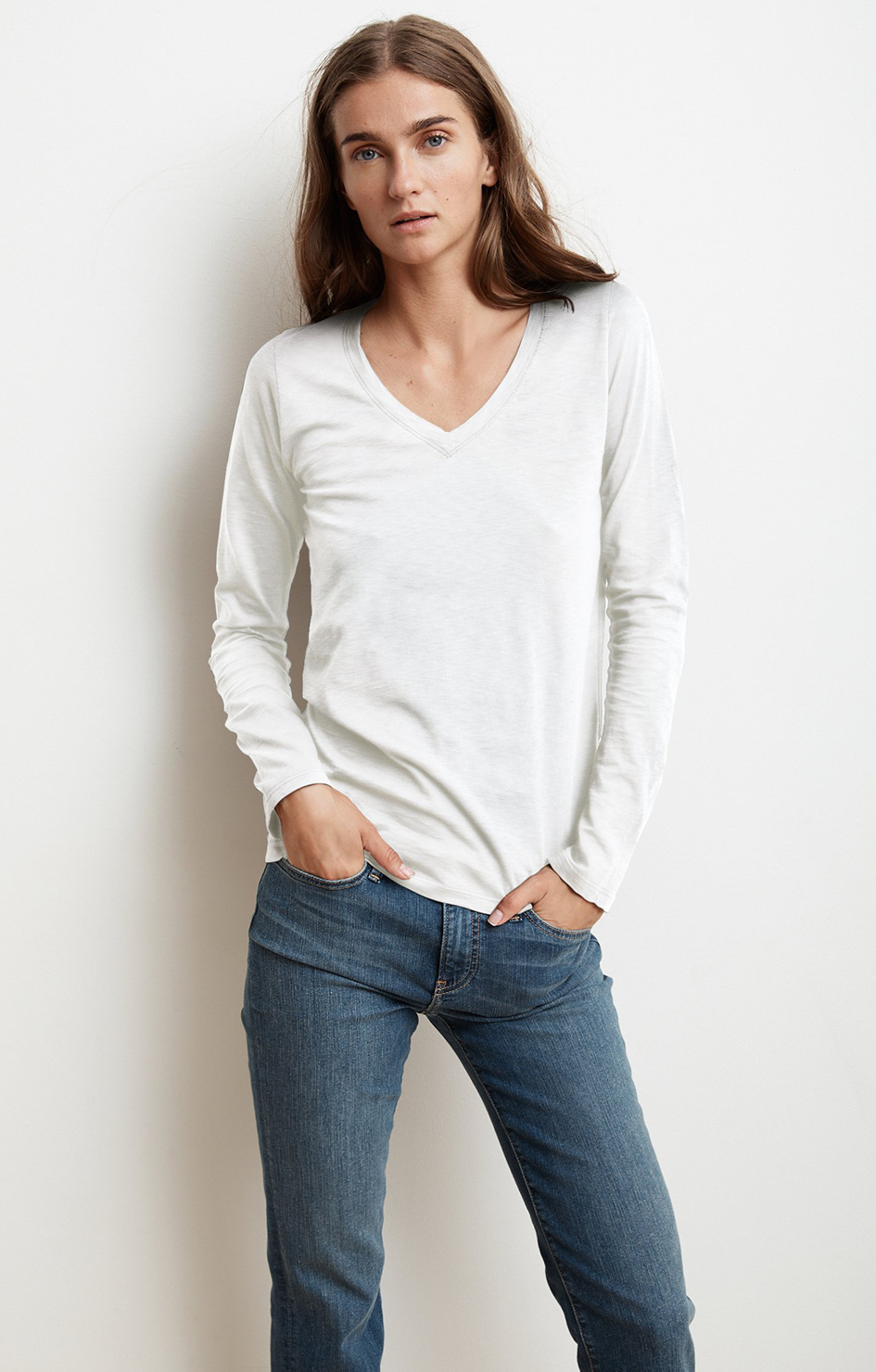 Bridget Long Sleeve V Neck Tee
