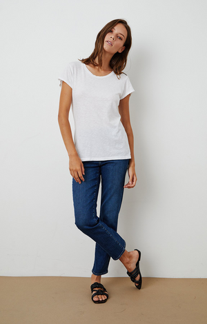 Odelia Round Neck Tee In White