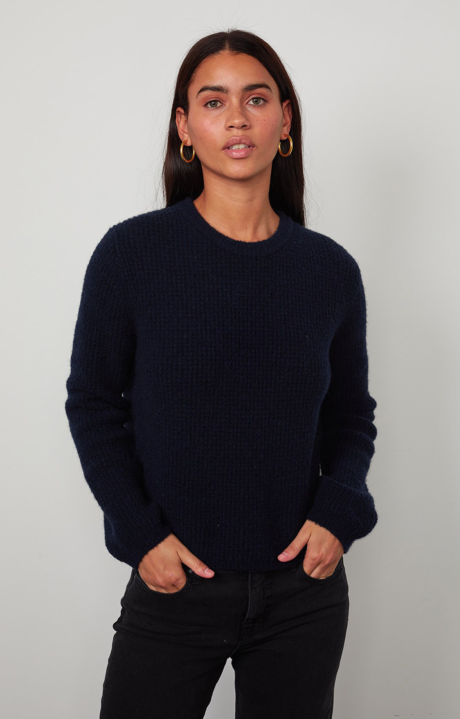 Velvet By Graham & Spencer Nadie Honeycomb Sweater Navy