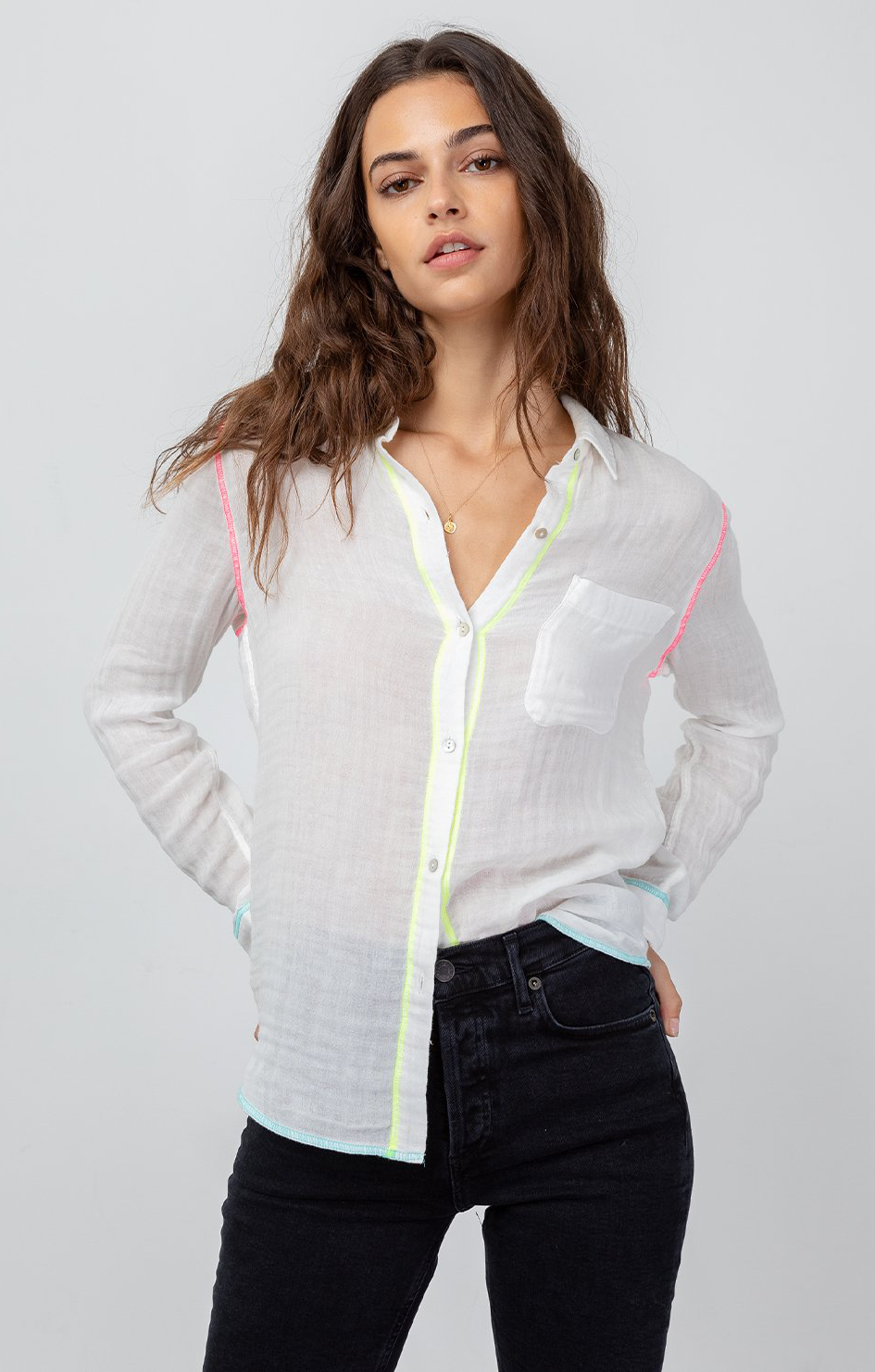 Ellis Top In White Neon