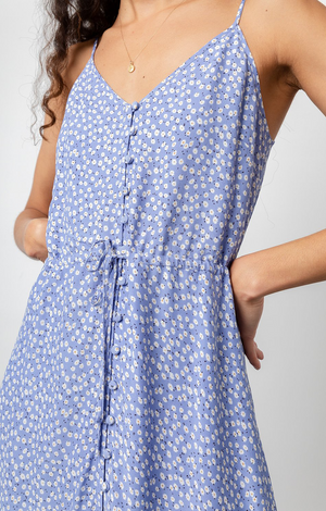 Frida Dress In Sky Blue Daisies