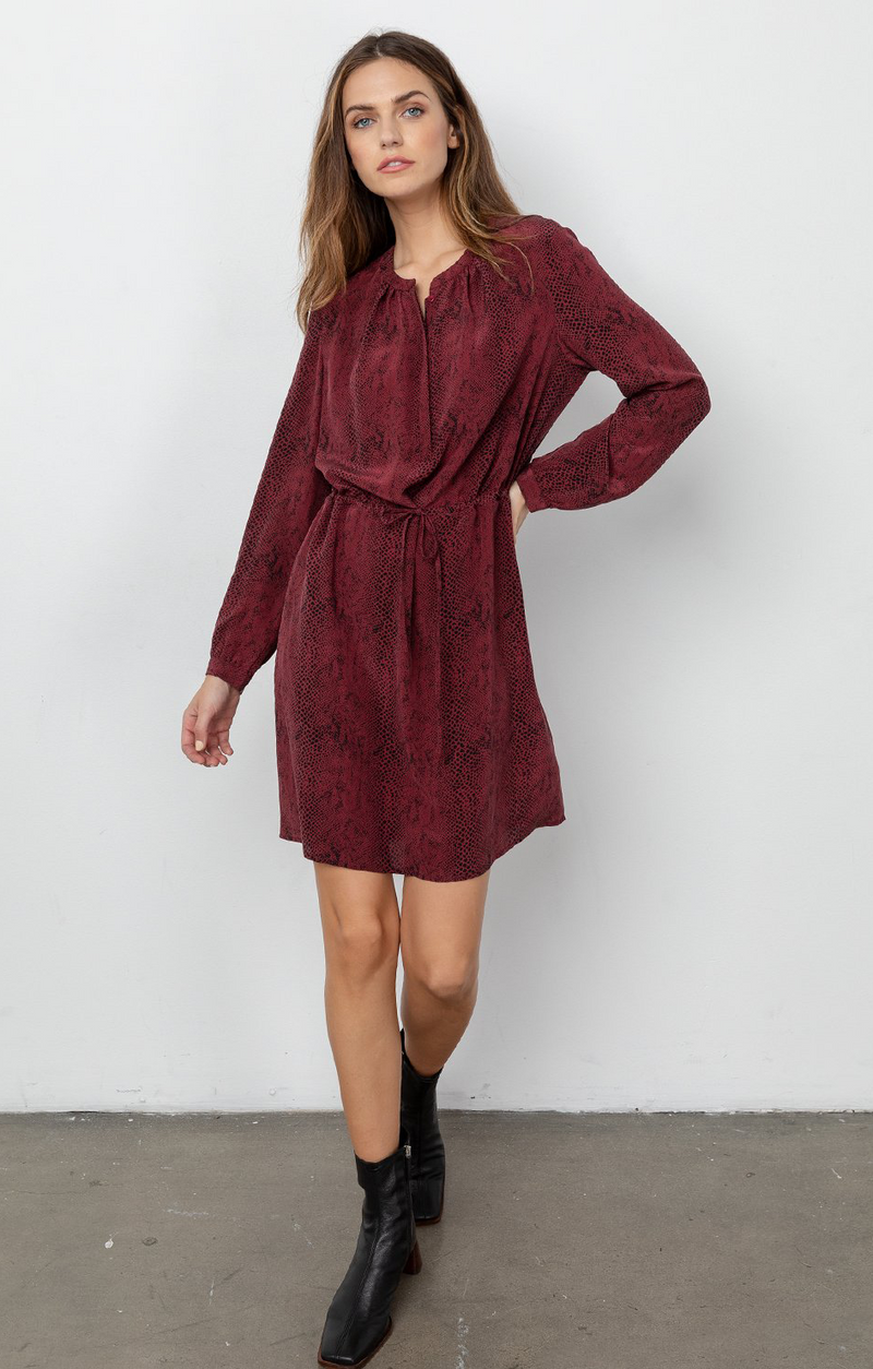 Hana Dress In Silk Red Python