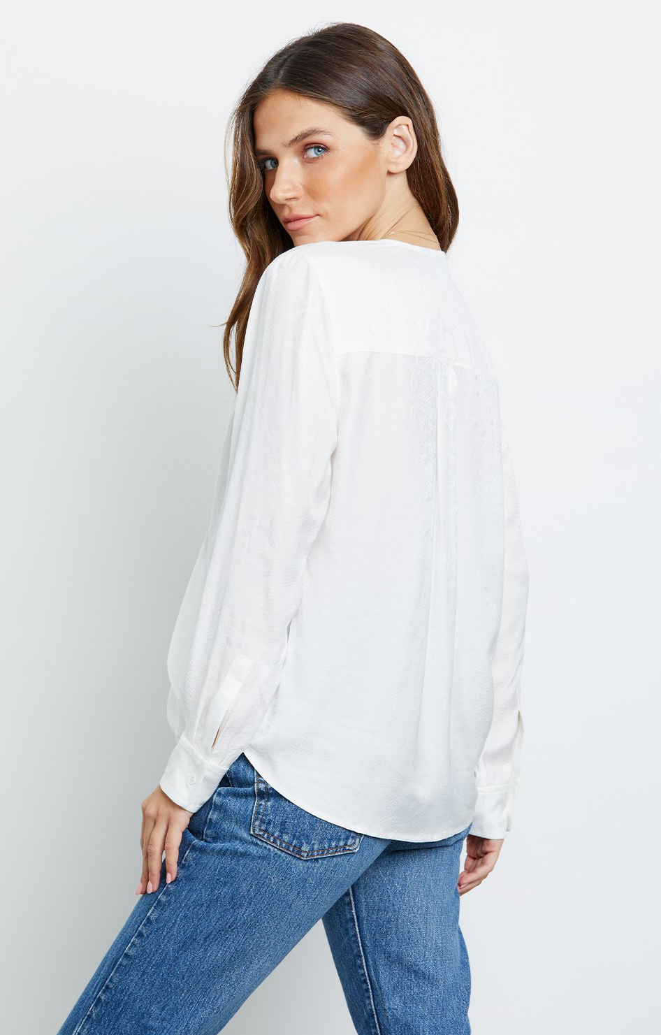 Hillary Top - Ivory Snake Jacquard