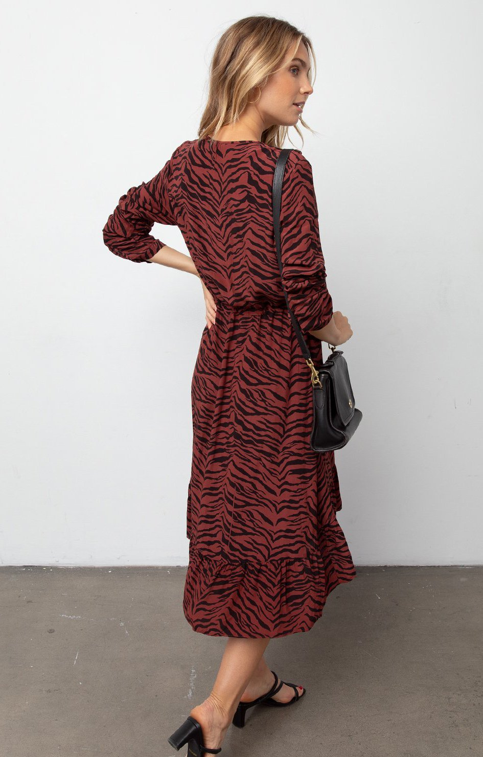 RAILS JADE DRESS RUST TIGER STRIPE