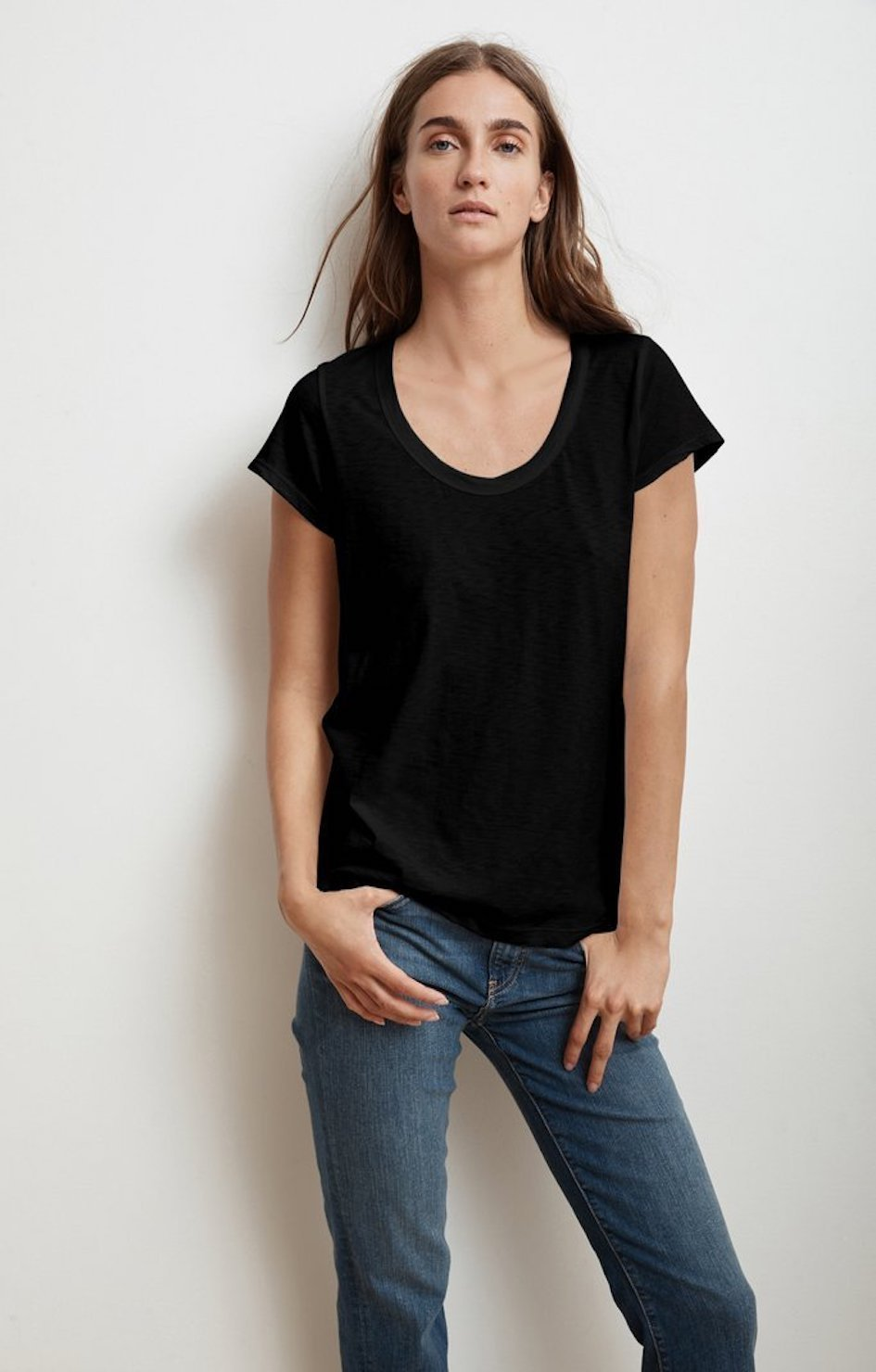 Katie Scoop Neck Tee - Black