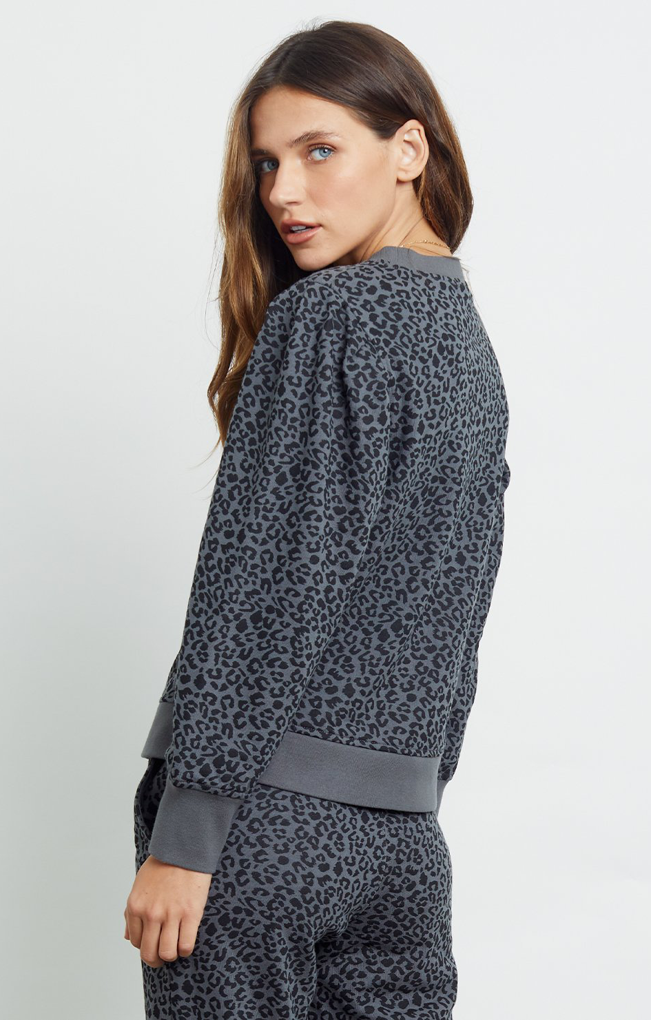 Marcie Sweater - Charcoal Mini Cheetah