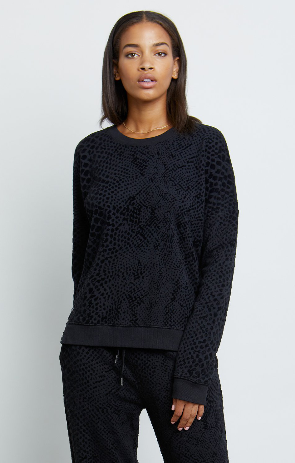 Marlo Sweatshirt - Black Flocked Cobra