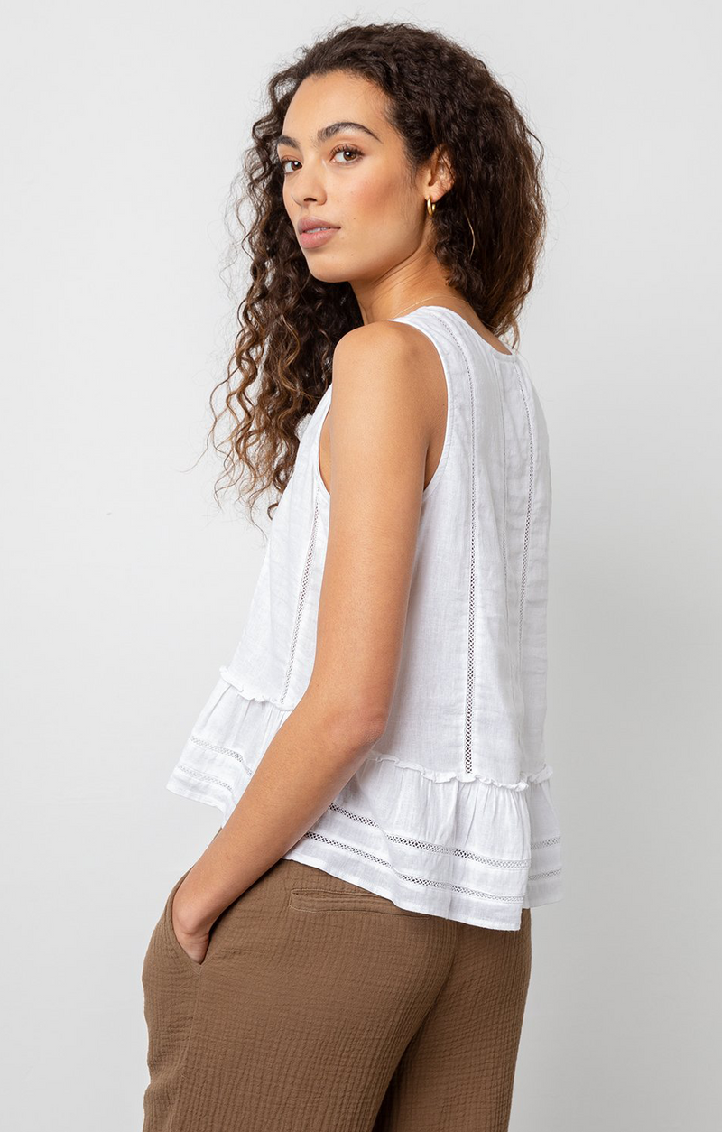 Mira Tank Top In White Lace Detail