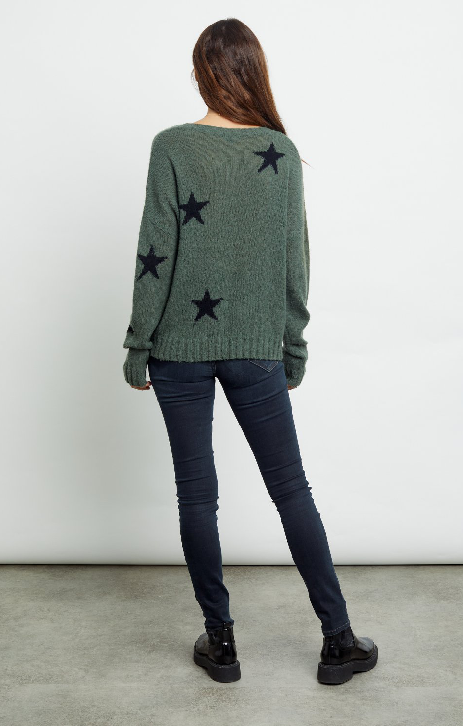 Perci Sweater - Olive Black Stars