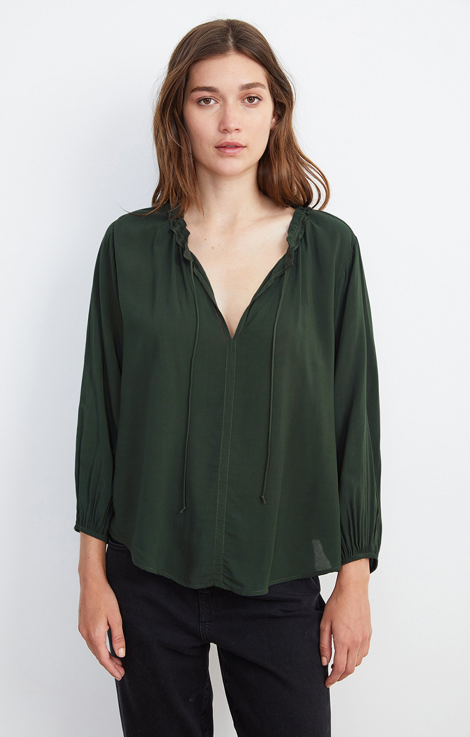 Marty 3/4 Sleeve Top In Army