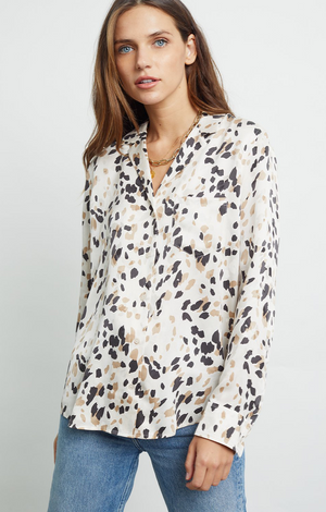 Rails Rebel Shirt- Silk Natural Abstract Animal