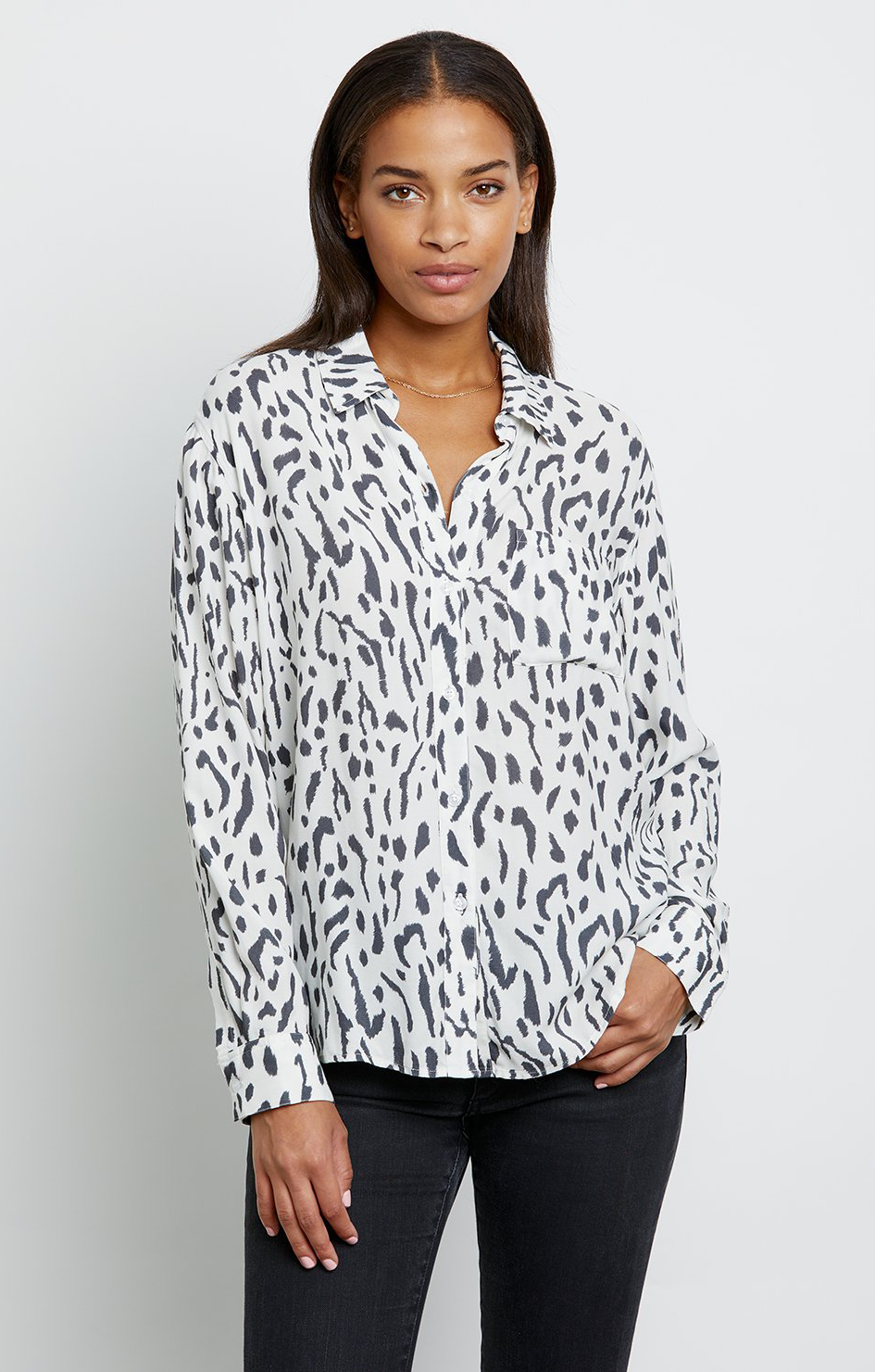 Rocsi Shirt - Ivory Cheetah