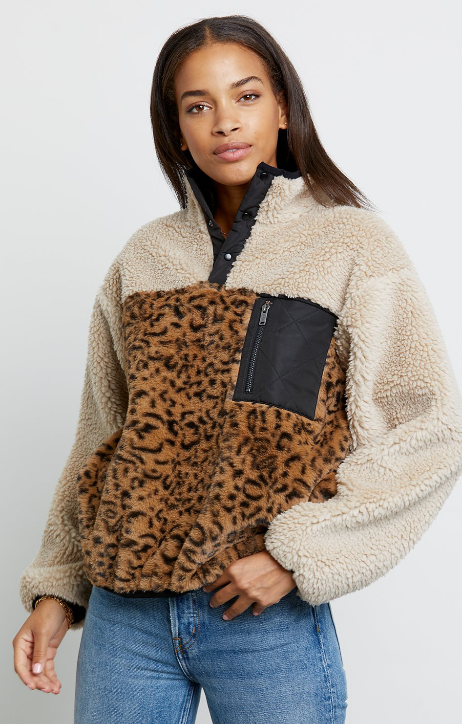 Saga Sweater - Cream Leopard Mix