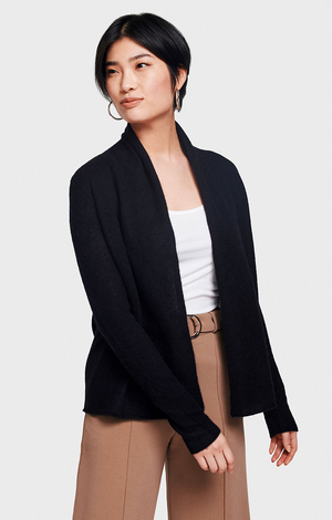 Cashmere Mini Trapeze Cardigan - Black