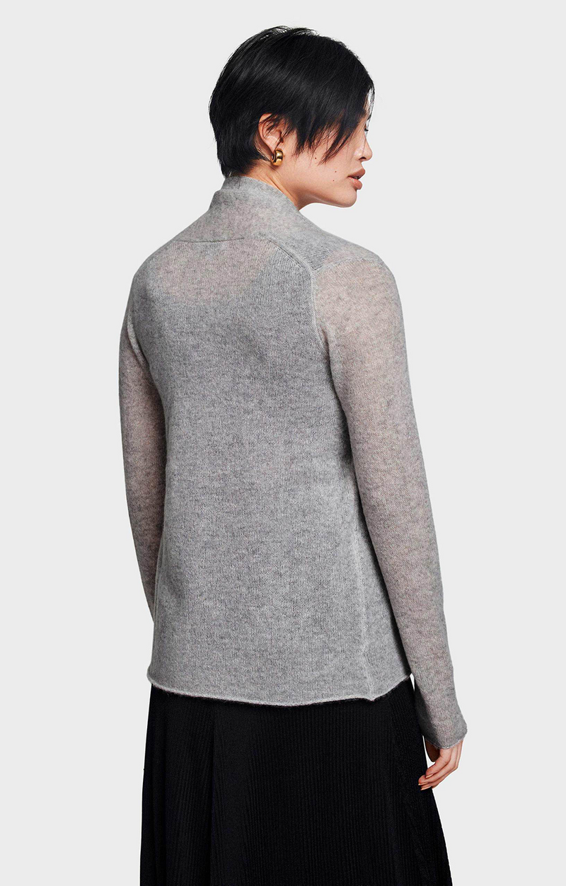 Cashmere Mini Trapeze Cardigan - Cool Grey Heather