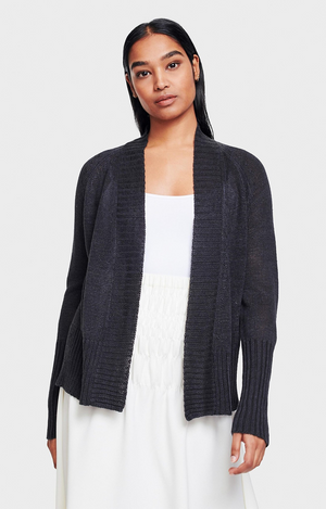 Rib Placket Open Cardigan - Washed Black