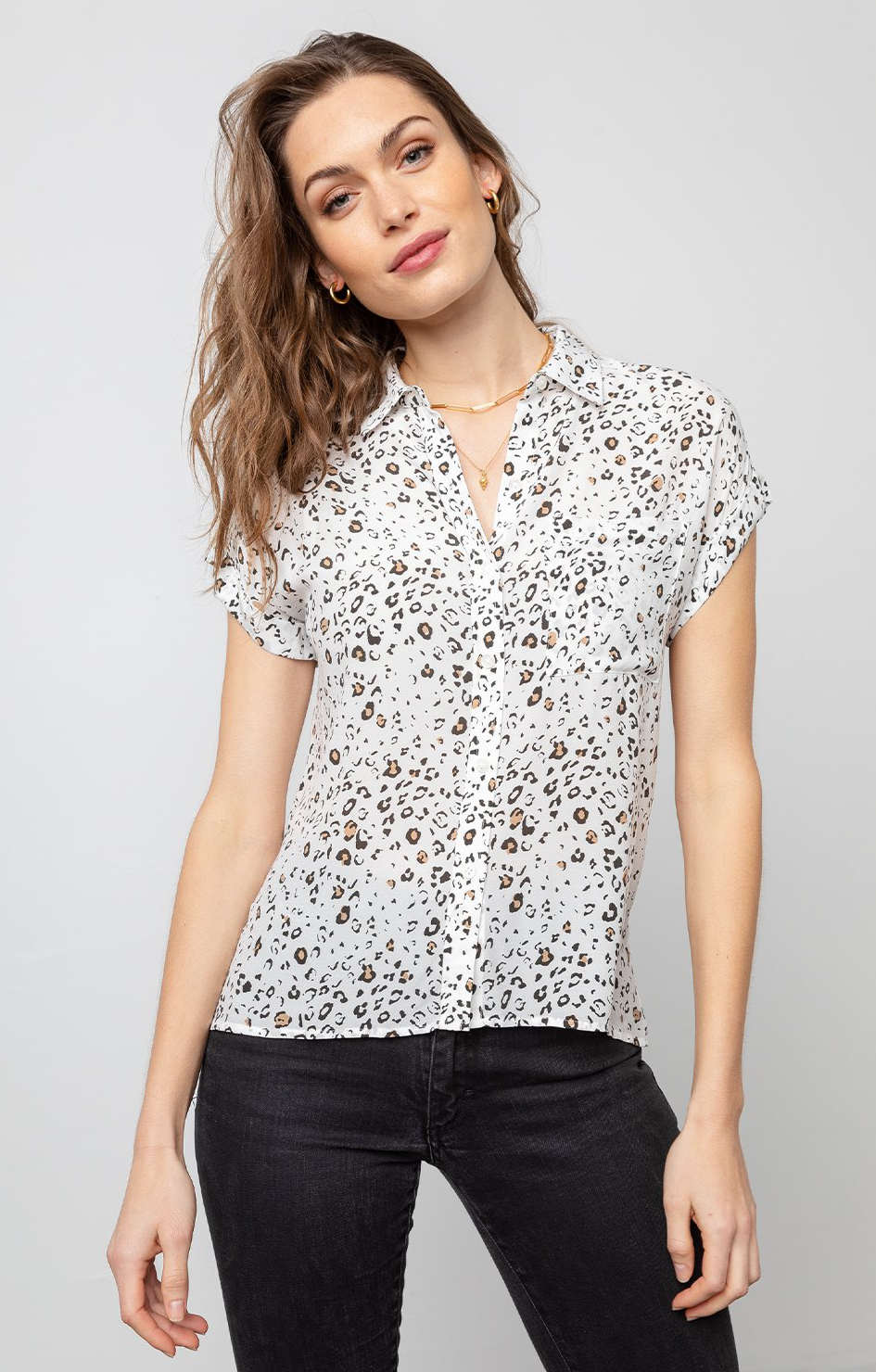 Whitney Shirt In White Mocha Leopard - Rails Clothing