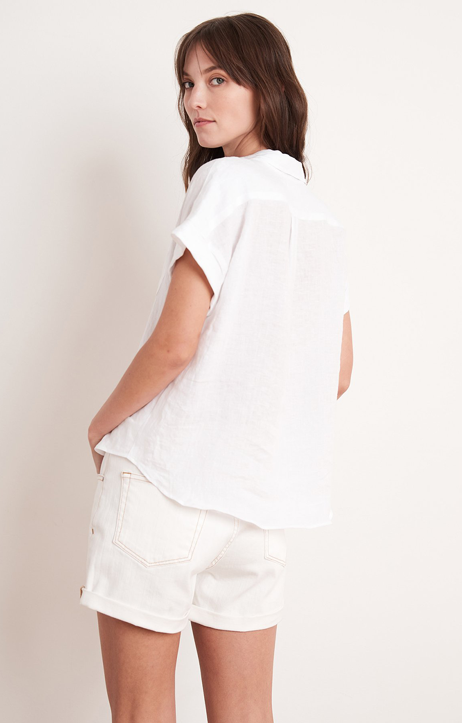 Emerson Linen Top In White