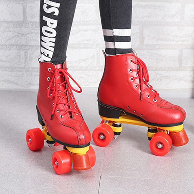 Beginner Adult Flash Indoor Outdoor Leather Roller Skates