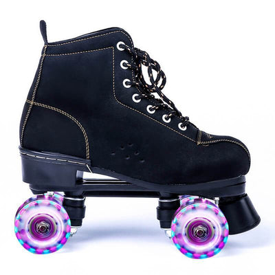 Black Frosted Leather Flash Womens & Mens Roller Skates