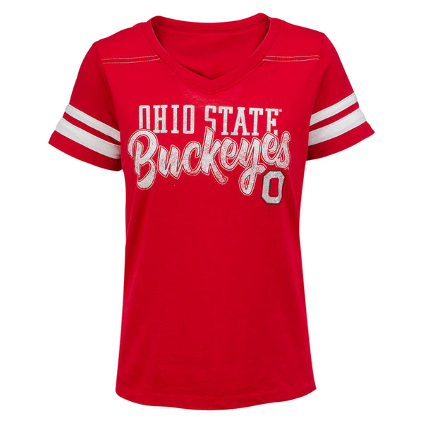 Ladies Ohio State Buckeyes Triple Threat V-Neck T-Shirt