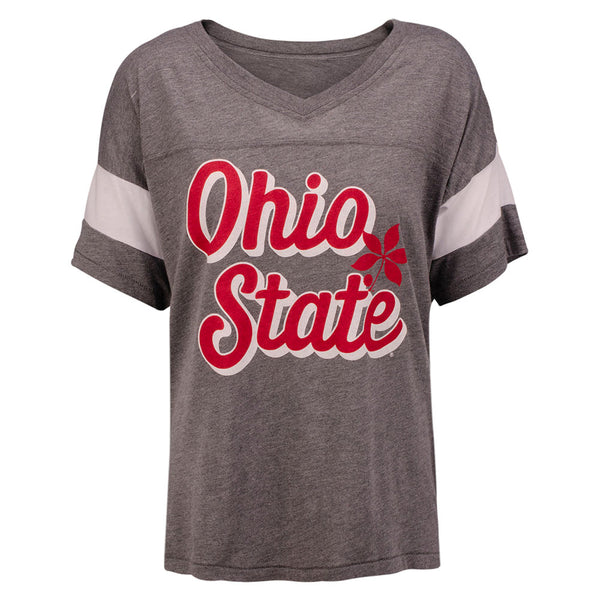Ladies Ohio State Buckeyes Script Colorblock T-Shirt