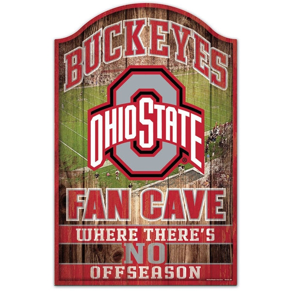 "Ohio State Buckeyes Fan Cave Wood Sign 11""X17"""