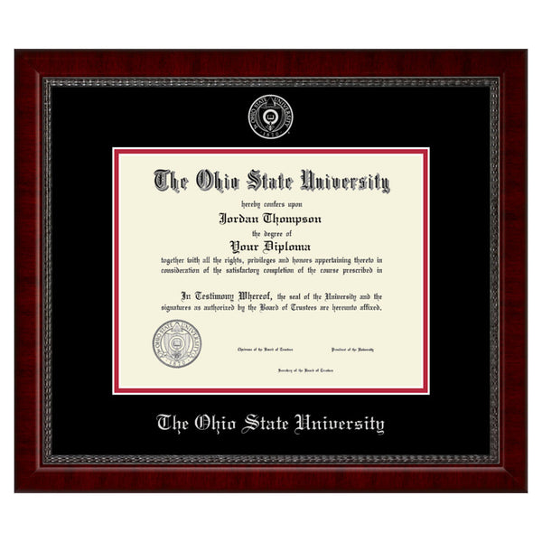 The Ohio State University Silver Embossed Diploma Frame