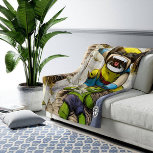 """Wolverine"" 50""x60"" - Meents Illustrated Authentic - Sherpa Fleece Blanket - JAXGFX"