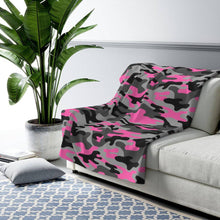 Load image into Gallery viewer, Camo - Pink - Sherpa Fleece Blanket - JAXGFX