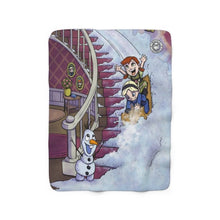 "Load image into Gallery viewer, ""Frozen"" 50""x60"" - Meents Illustrated Authentic - Sherpa Fleece Blanket - JAXGFX"
