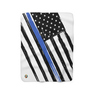 Thin Blue Line Flag V.2 - Sherpa Fleece Blanket - JAXGFX