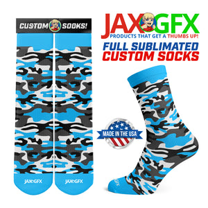 Camo - Lite Blue Socks made by JAX