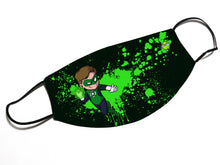 "Load image into Gallery viewer, ""Green Lantern"" - Meents Illustrated Authentic Design Face Mask - JAXGFX"