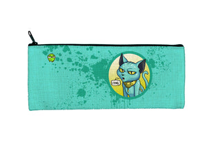 """Lying Cat"" Meents Illustrated Authentic Small Pencil/Device Bag"