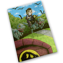 "Load image into Gallery viewer, ""Jurassic Bike Ride"" - Meents Illustrated Authentic Design - 120 Piece Jigsaw Puzzle"