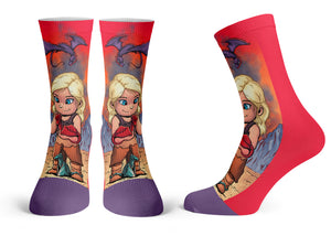 """Mother Of Dragons"" - Meents Illustrated Authentic Kids Socks"