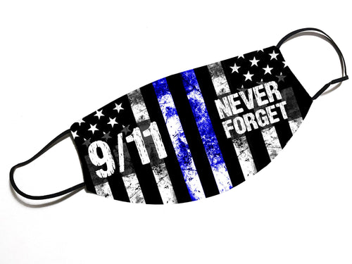NEVER FORGET 9/11 - Thin Blue Line - Face Mask - By JAX - JAXGFX