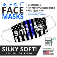 Load image into Gallery viewer, NEVER FORGET 9/11 - Thin Blue Line - Face Mask - By JAX - JAXGFX