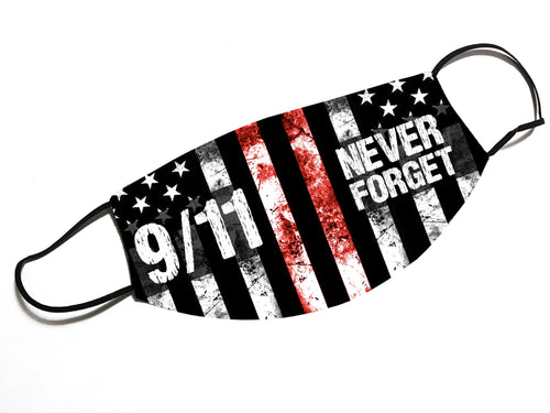 NEVER FORGET 9/11 - Thin Red Line - Face Mask - By JAX - JAXGFX